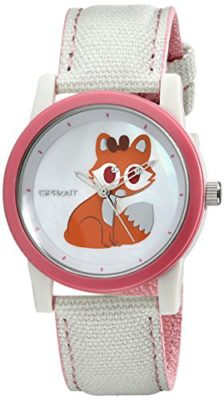 Sprout-Womens-ST5525MPPK-Swarovski-Crystal-Accented-Fox-Design-Beige-Cotton-Strap-Watch-0
