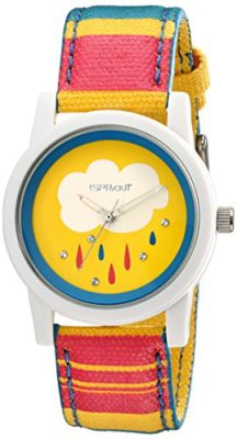 Sprout-Womens-ST5531YLMP-Swarovski-Crystal-Studded-Rain-Drop-Watch-with-Striped-Cotton-Band-0