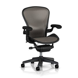 Aeron-Chair-by-Herman-Miller-Basic-Height-and-Tilt-Tension-Adjustments-Fixed-Vinyl-Arms-Standard-Carpet-Casters-Graphite-FrameLead-Classic-Pellicle-Size-A-Small-0