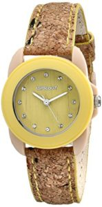 Sprout-Womens-ST1057YLCK-Swarovski-Crystal-Accented-Yellow-Cork-Strap-Watch-0