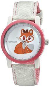 Sprout-Womens-ST5525MPPK-Swarovski-Crystal-Accented-Fox-Design-Beige-Cotton-Strap-Watch-0