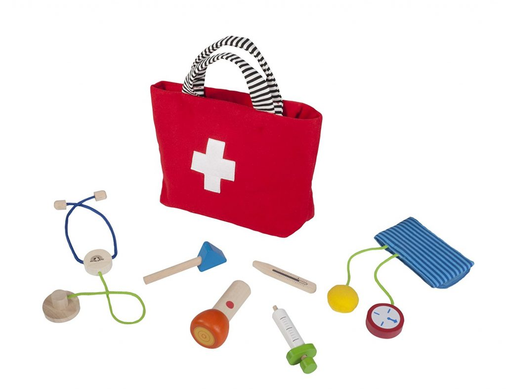 Handy Doctor Seven-Piece Wood Pretend Play Medical Checkup Kit by Wonderworld