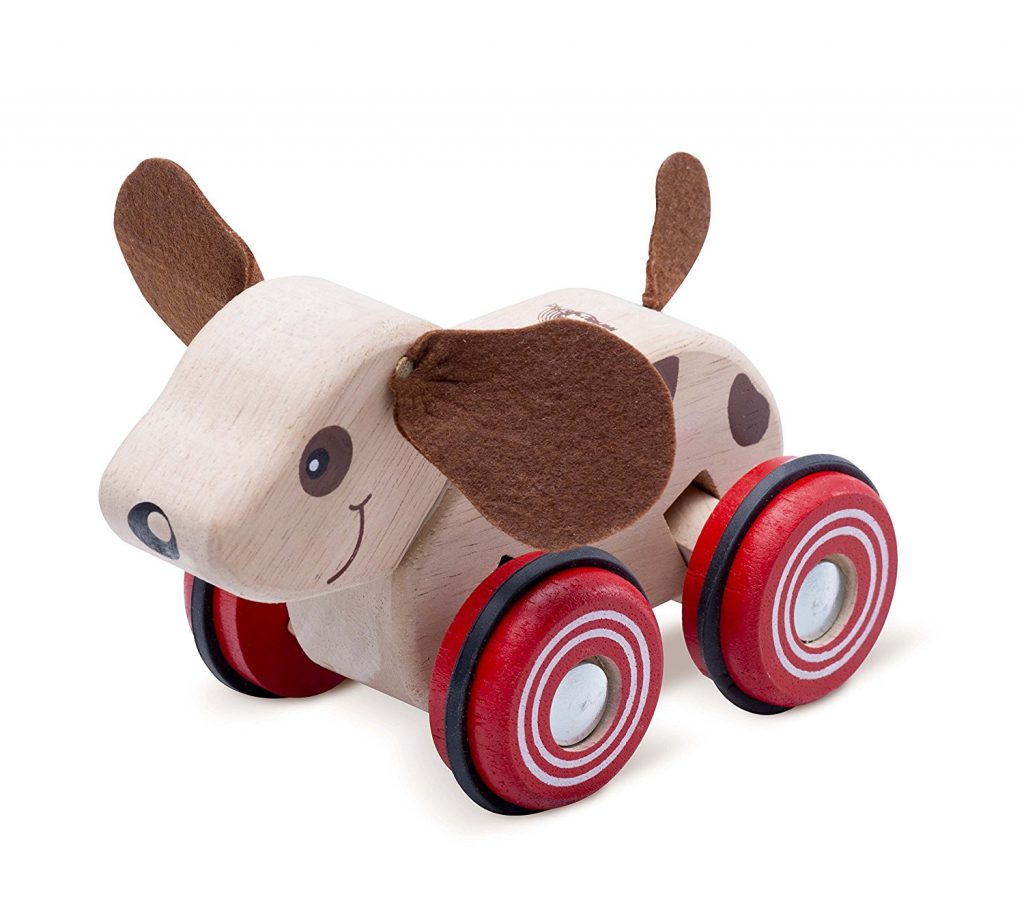 Wheely Puppy Baby Toddler Wood Push Toy on Wheels