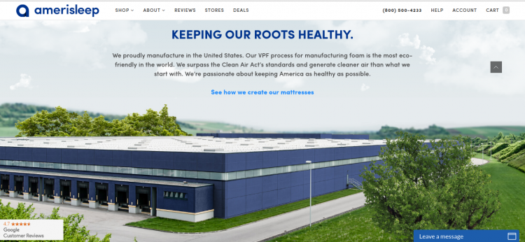 Organic mattress company, Amerisleep's, Clean Air Act pledge
