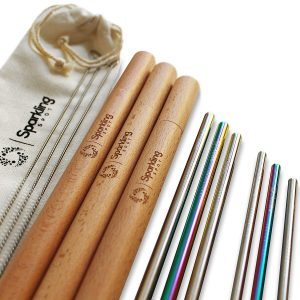 Reusable Stainless Steel Straws with Wooden Case
