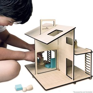 Modern Wooden Dollhouse by Wishwood Eco-friendly