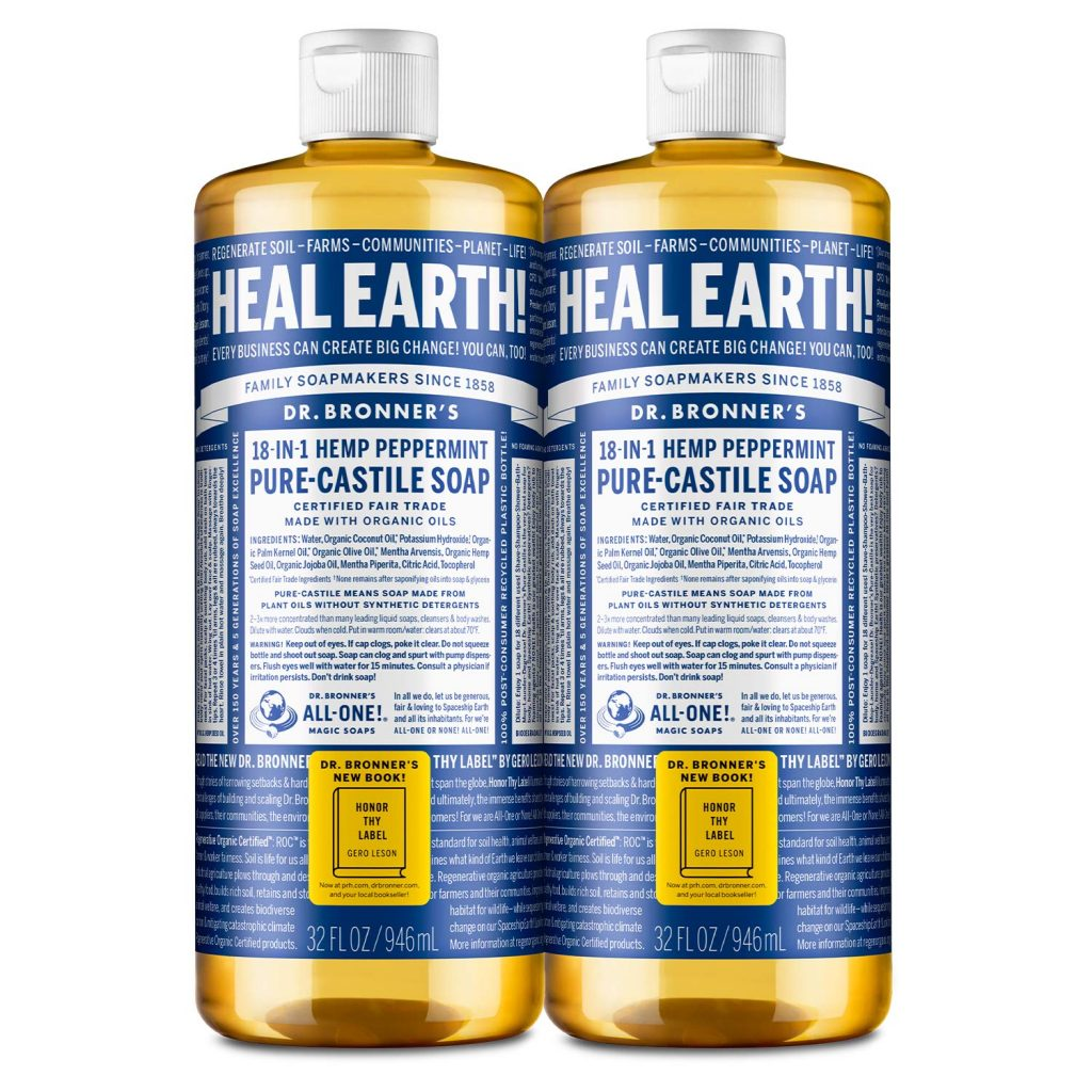 Dr. Bronners 18 in 1 Hemp Peppermint Pure Castille Soap - Eco-Friendly Cleaning Products