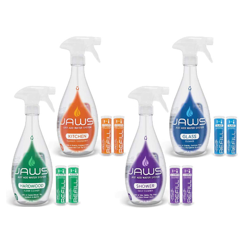 Eco-Friendly Cleaning Products - JAWS Cleaners Home Cleaning Kit, Multi-Surface Kitchen, Glass, Shower and Hardwood Floor